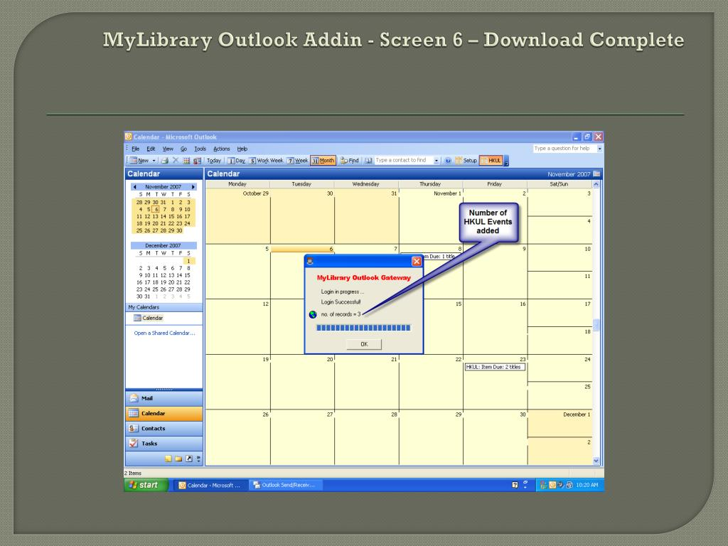 MyLibrary Outlook Addin - Screen 6 – Download Complete