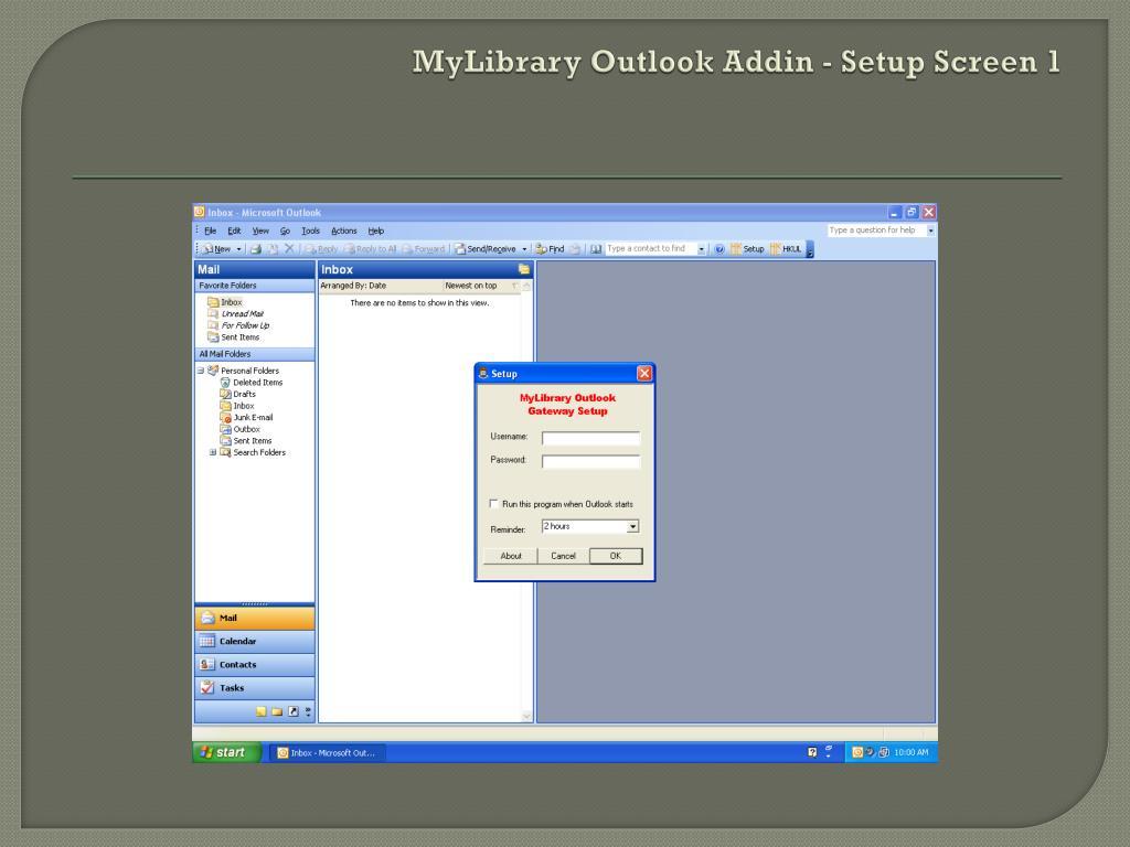MyLibrary Outlook Addin - Setup Screen 1