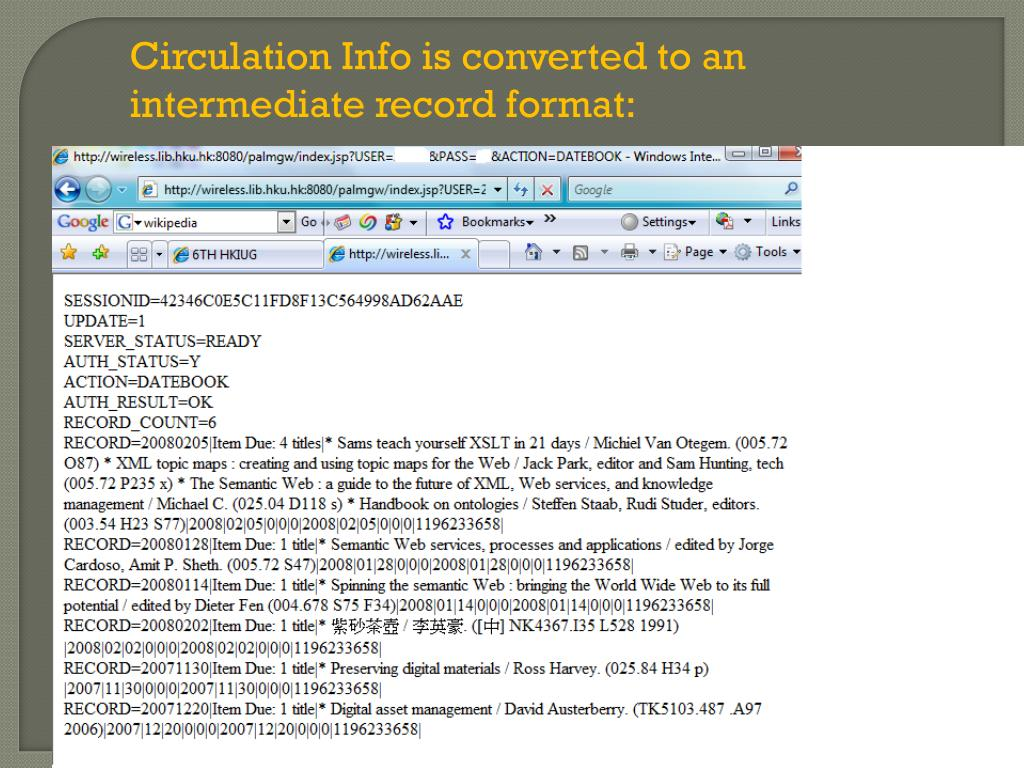 Circulation Info is converted to an intermediate record format: