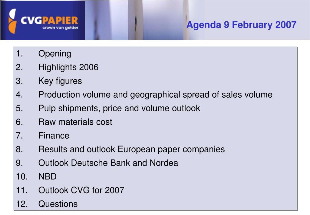 Agenda 9 February 2007