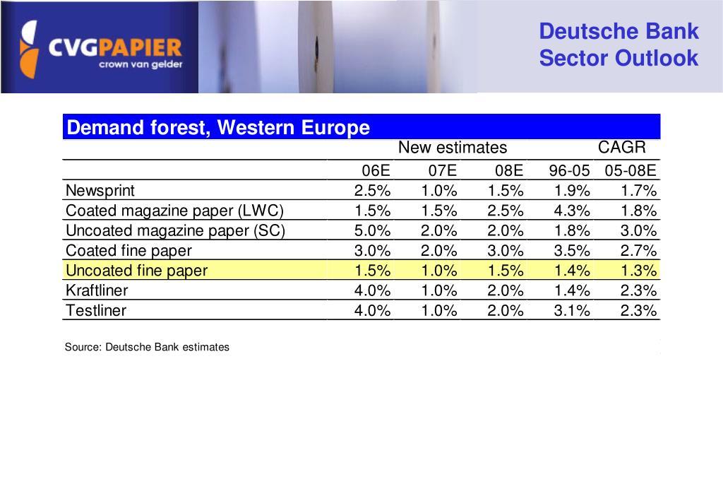 Deutsche Bank Sector Outlook