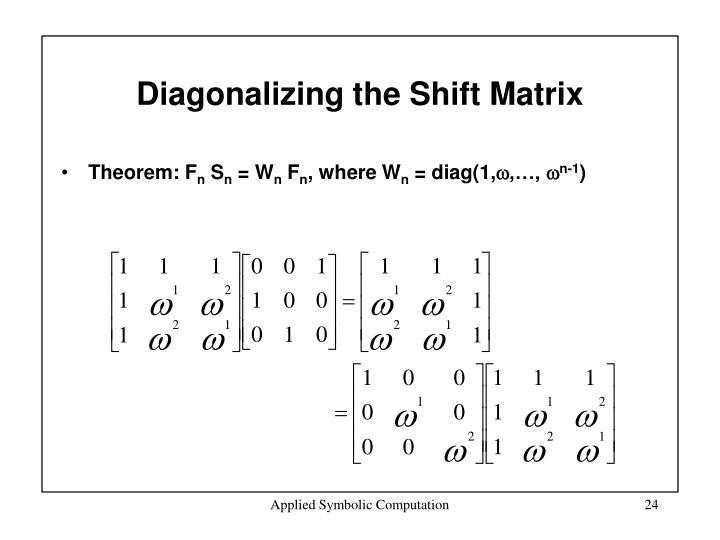 Diagonalizing the Shift Matrix