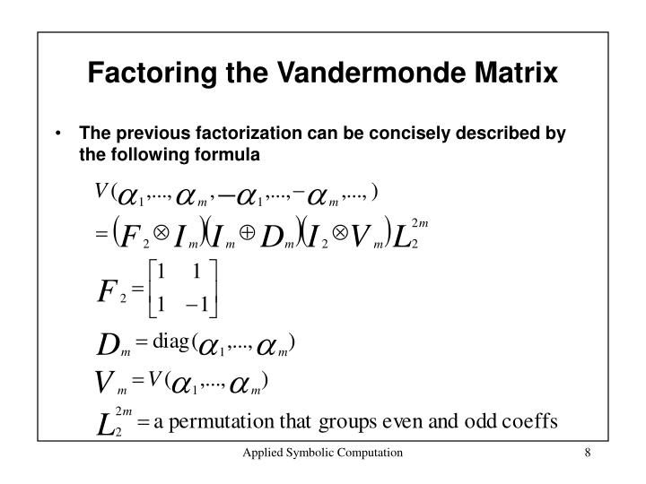 Factoring the Vandermonde Matrix