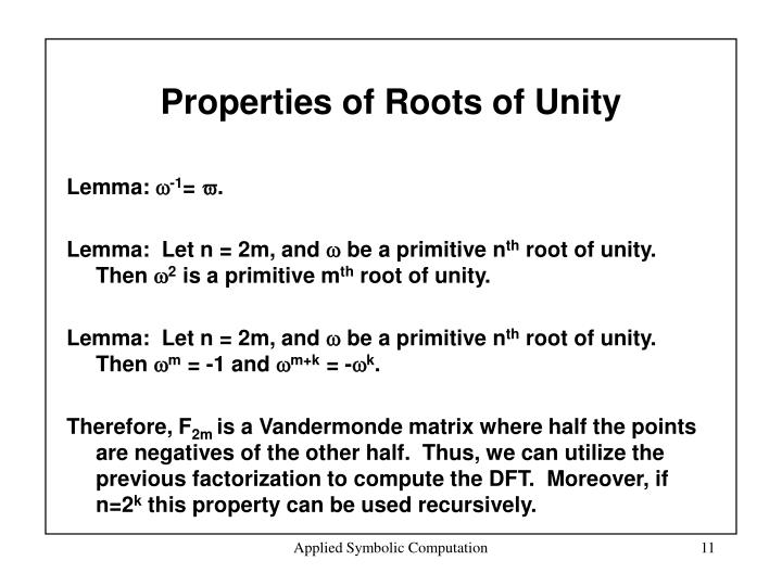 Properties of Roots of Unity