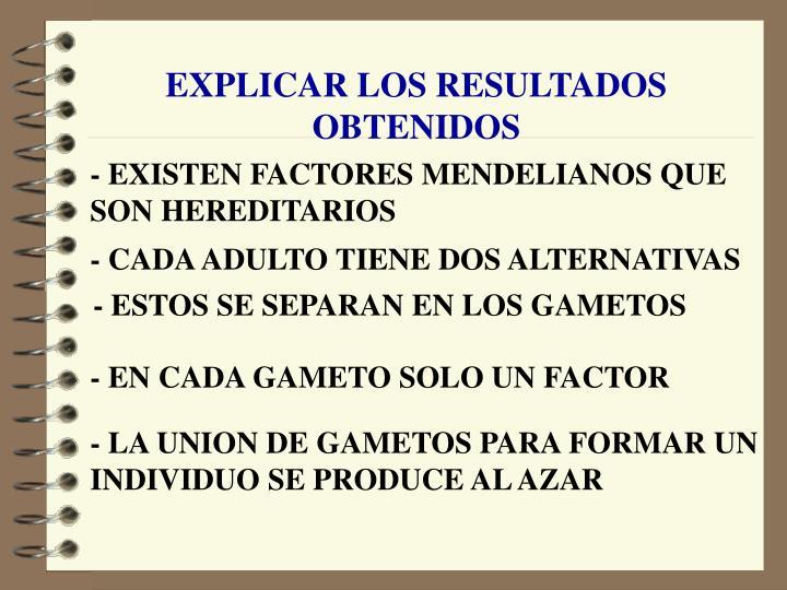 EXPLICAR LOS RESULTADOS OBTENIDOS