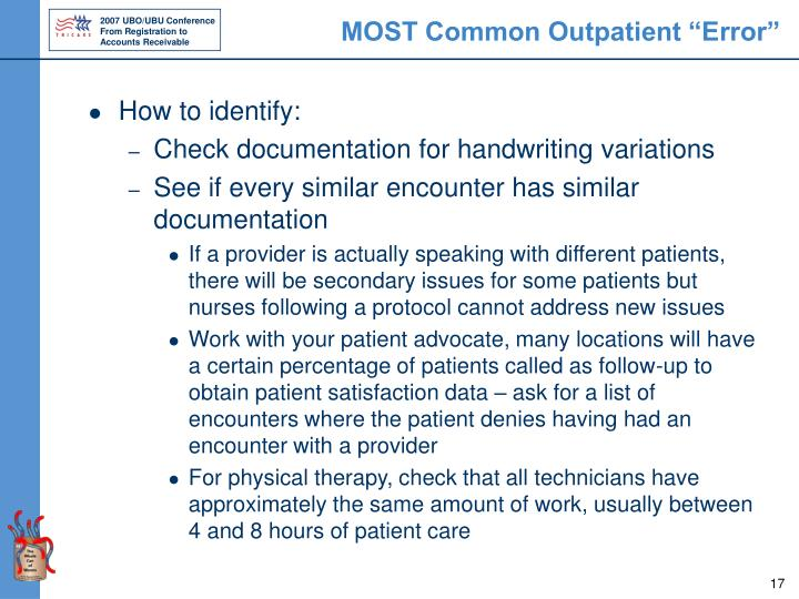 "MOST Common Outpatient ""Error"""