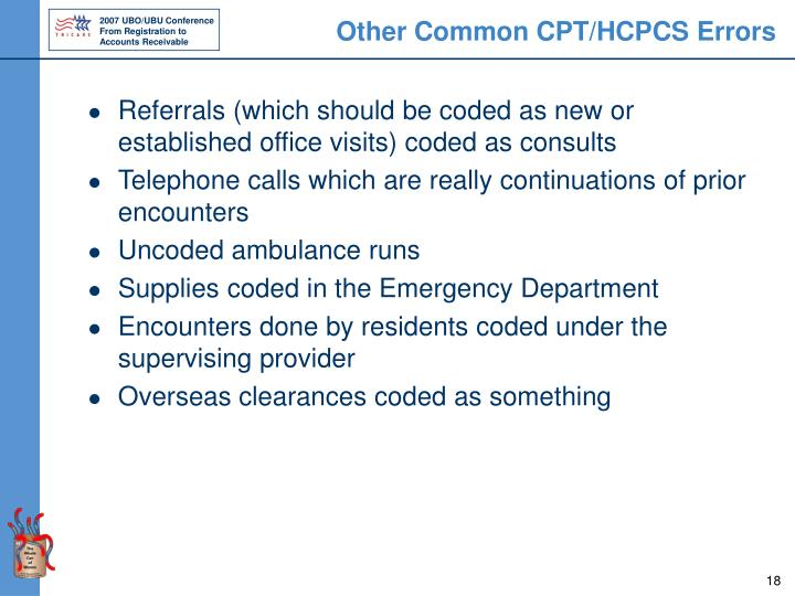 Other Common CPT/HCPCS Errors