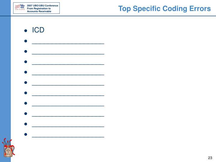 Top Specific Coding Errors