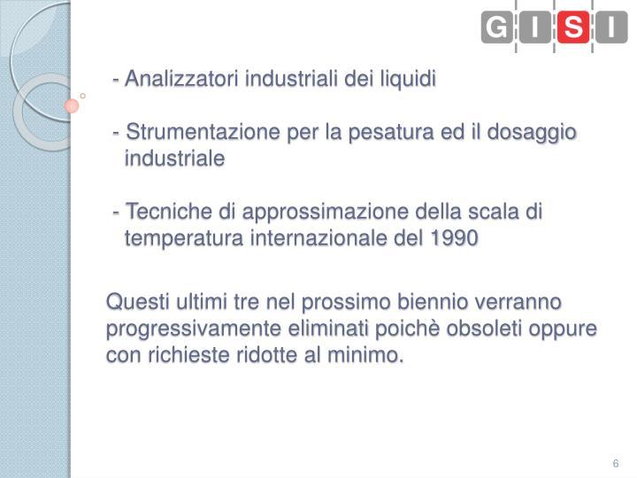 - Analizzatori industriali dei liquidi