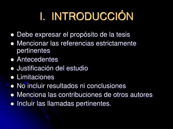 I.  INTRODUCCI