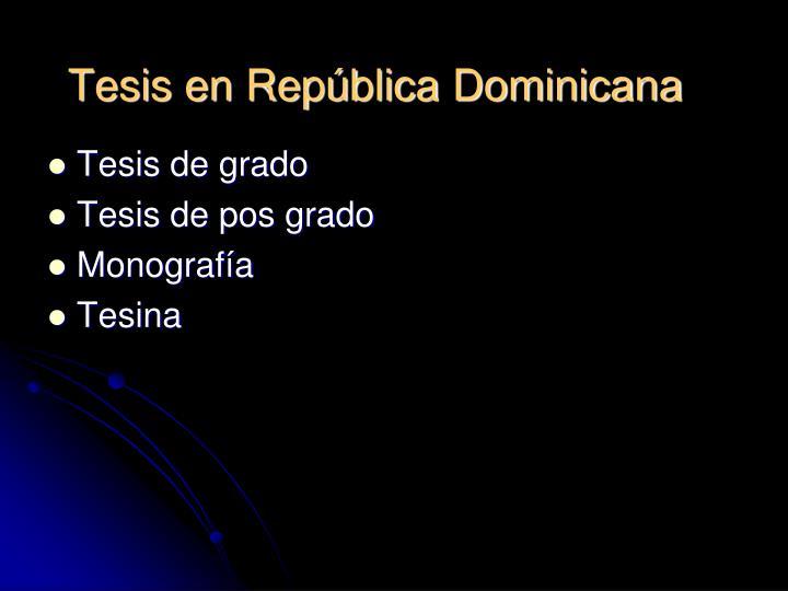 Tesis en República Dominicana