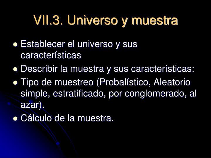 VII.3. Universo y muestra