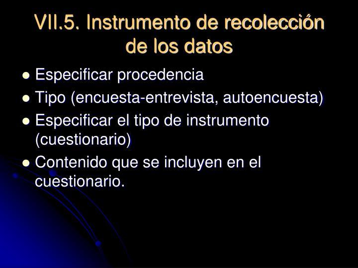 VII.5. Instrumento de recolección de los datos
