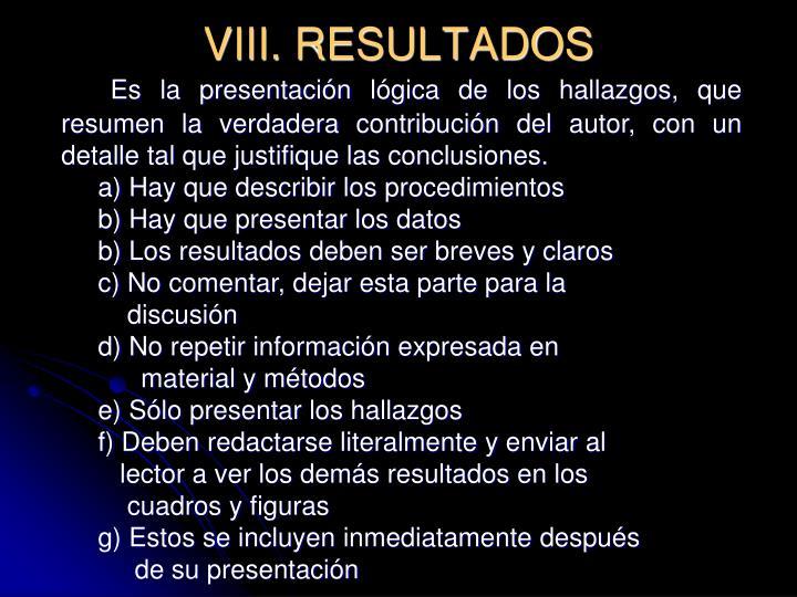 VIII. RESULTADOS