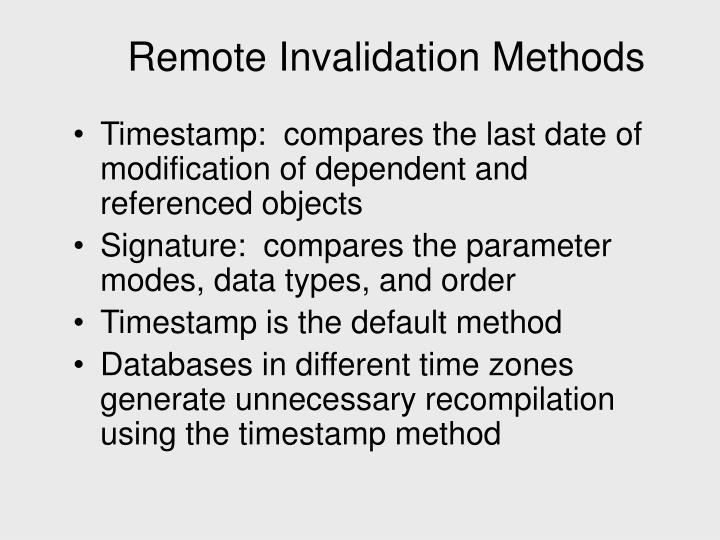 Remote Invalidation Methods