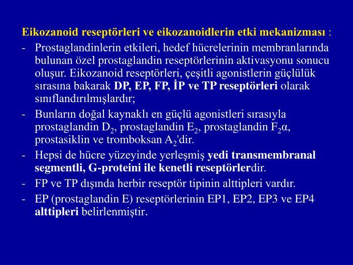 Eikozanoid reseptörleri ve eikozanoidlerin etki mekanizması
