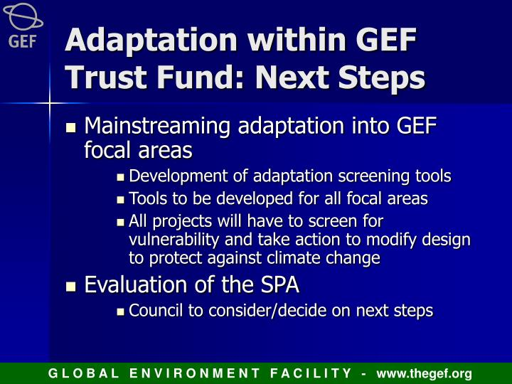 Adaptation within GEF Trust Fund: Next Steps