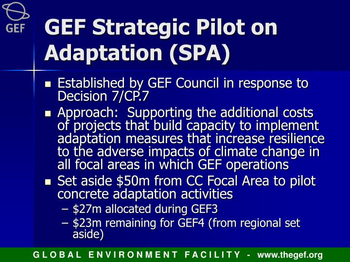 GEF Strategic Pilot on Adaptation (SPA)