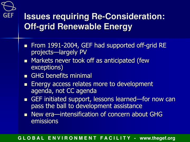 Issues requiring Re-Consideration: Off-grid Renewable Energy