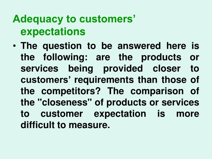 Adequacy to customers' expectations