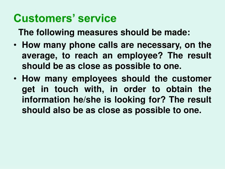 Customers' service