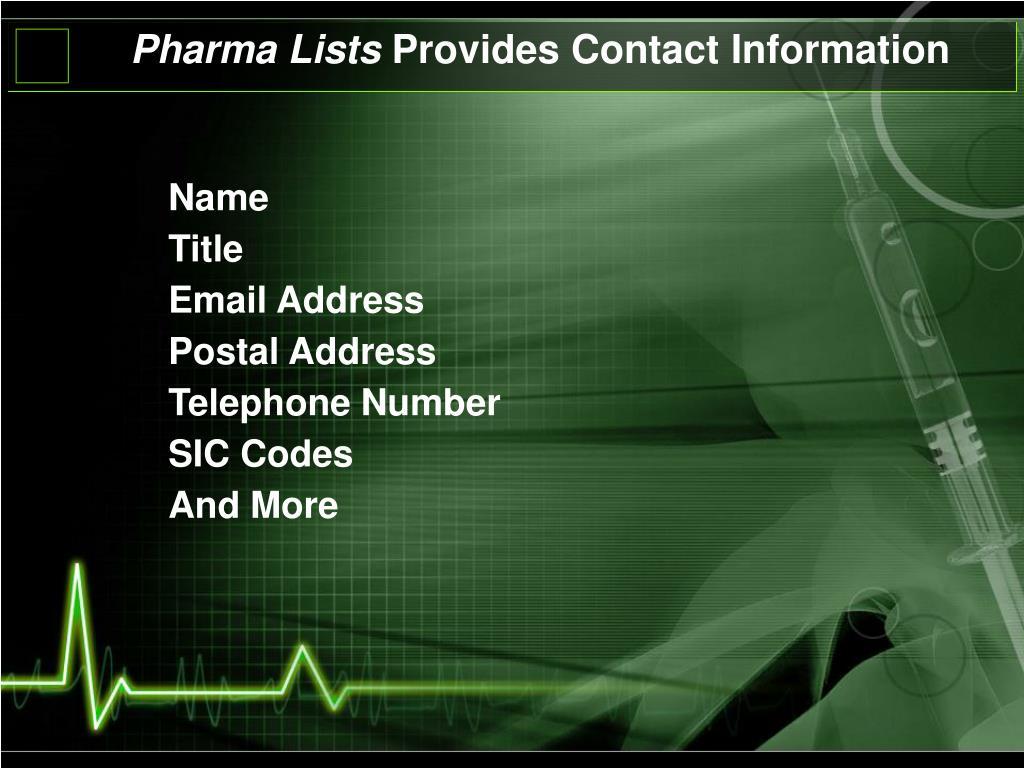 Pharma Lists