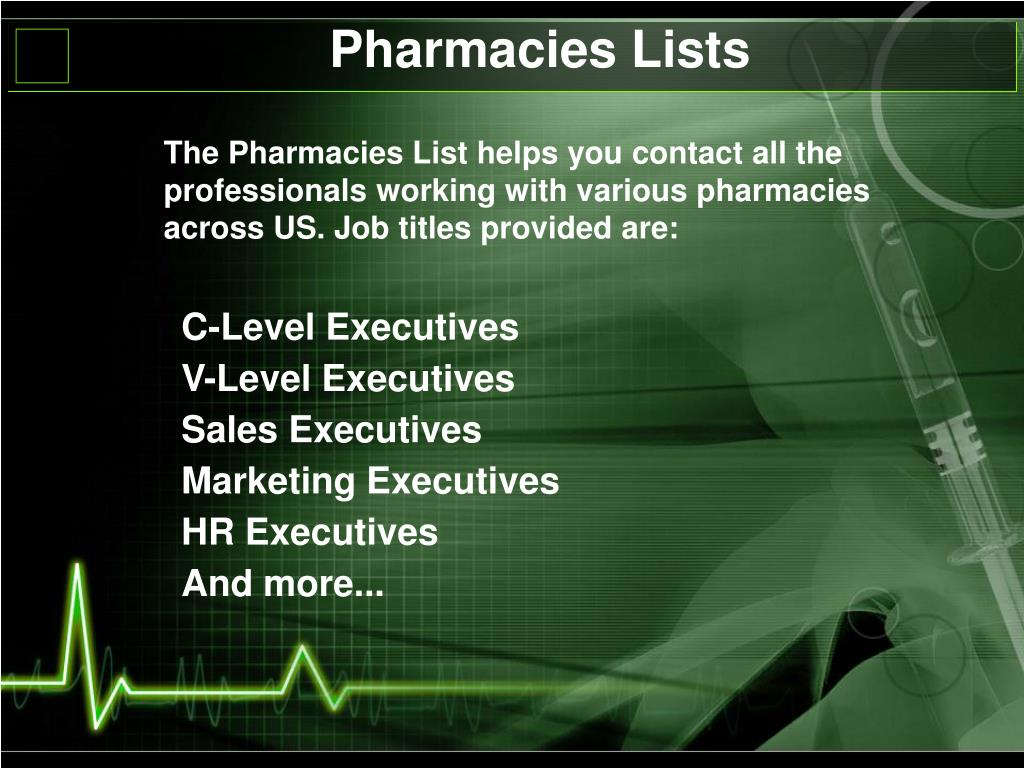 Pharmacies Lists