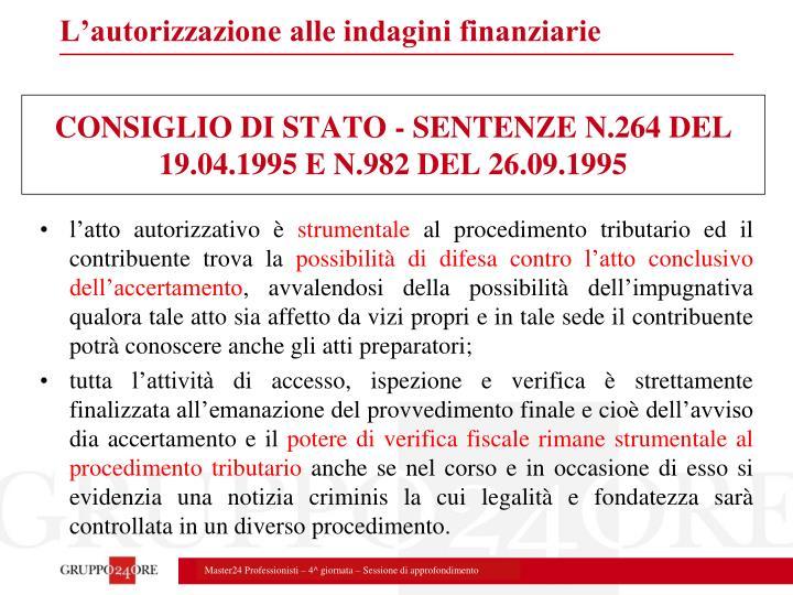 CONSIGLIO DI STATO - SENTENZE N.264 DEL 19.04.1995 E N.982 DEL 26.09.1995