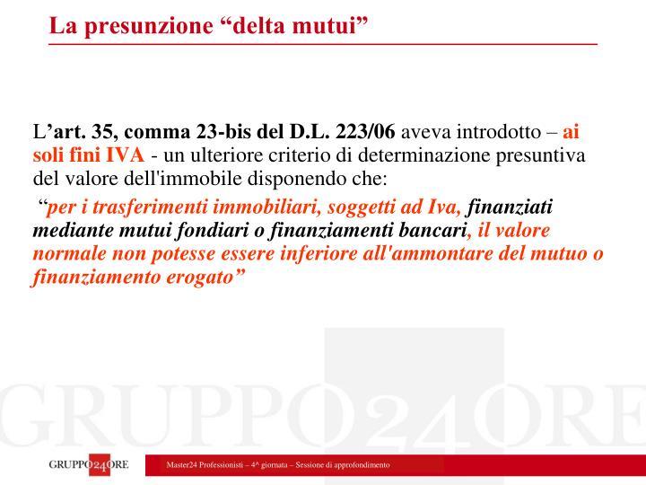 """La presunzione """"delta mutui"""""""