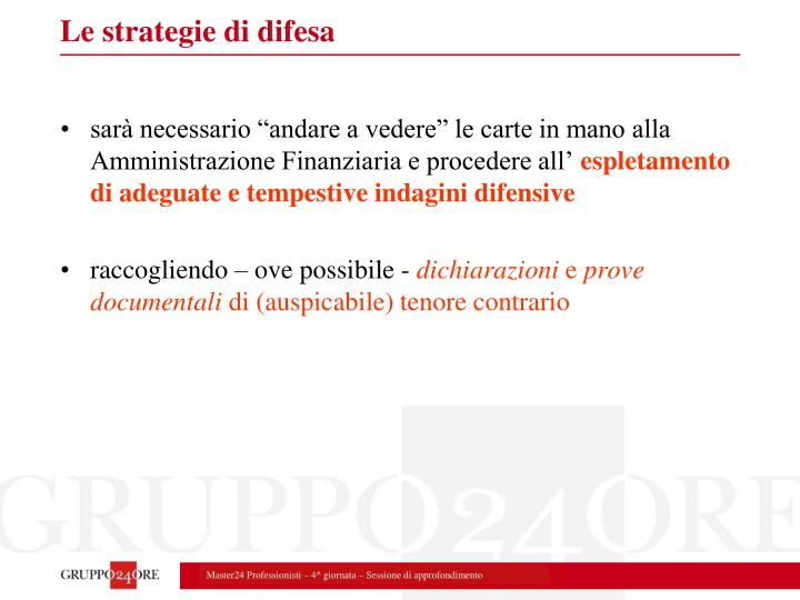Le strategie di difesa