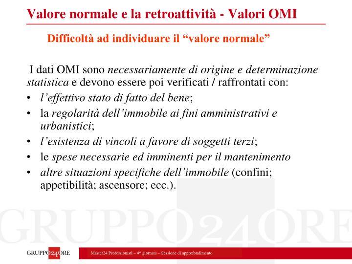 Valore normale e la retroattività - Valori OMI