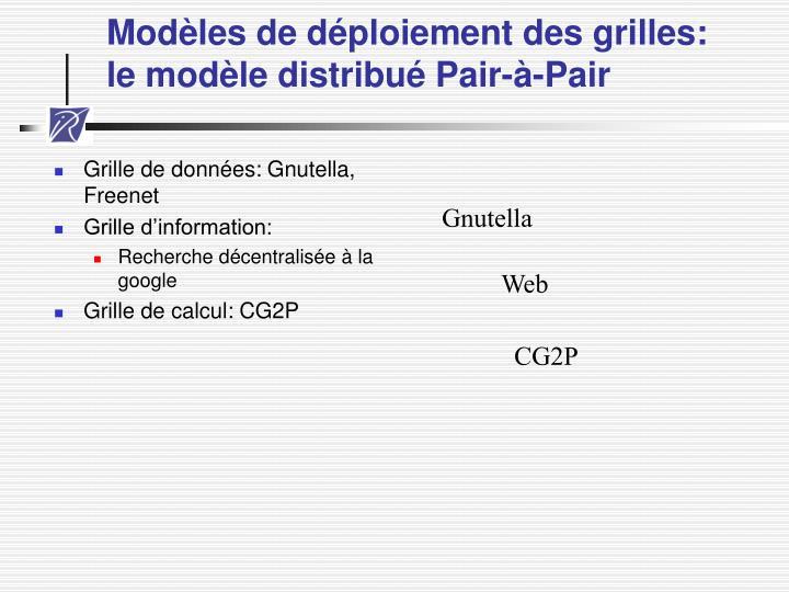 Modèles de déploiement des grilles:
