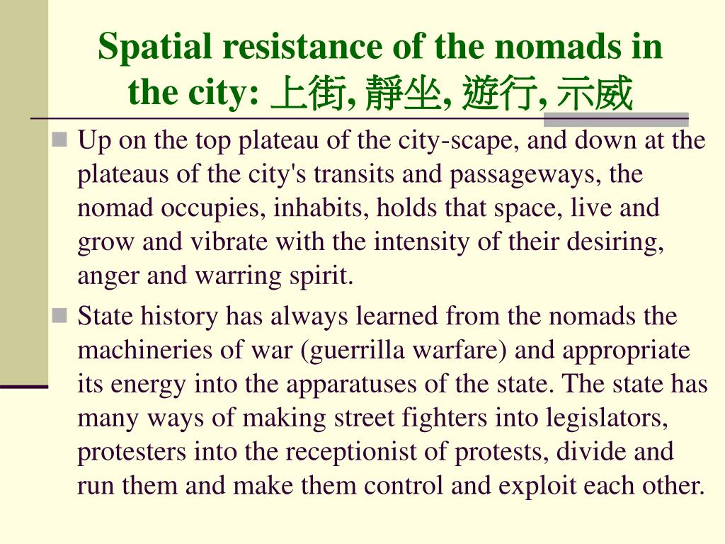Spatial resistance of the nomads in the city: