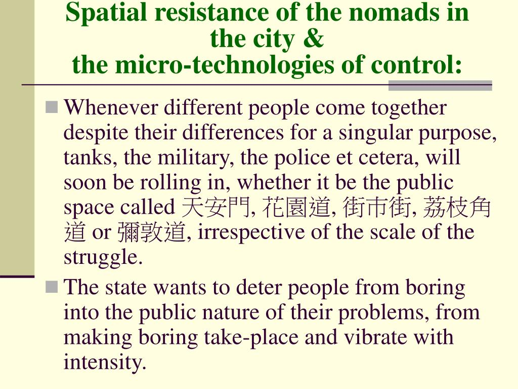 Spatial resistance of the nomads in the city &