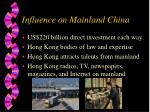 influence on mainland china