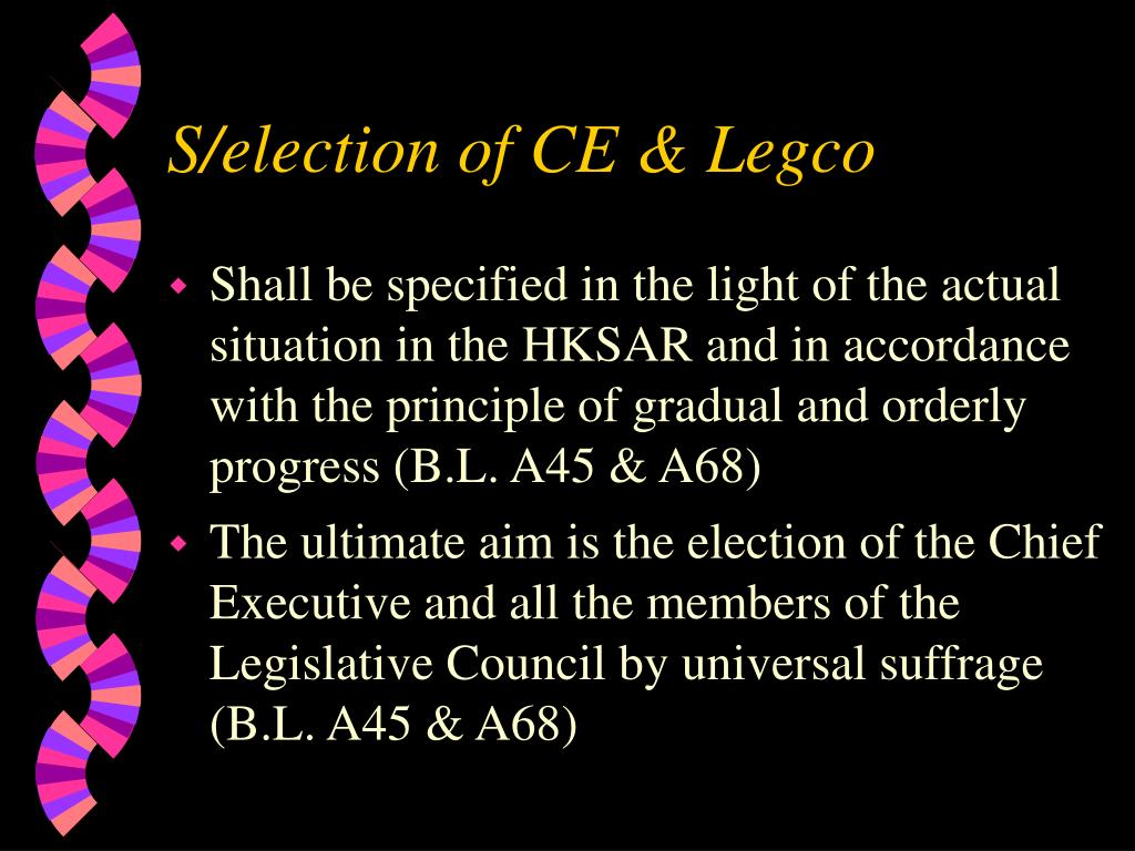 S/election of CE & Legco