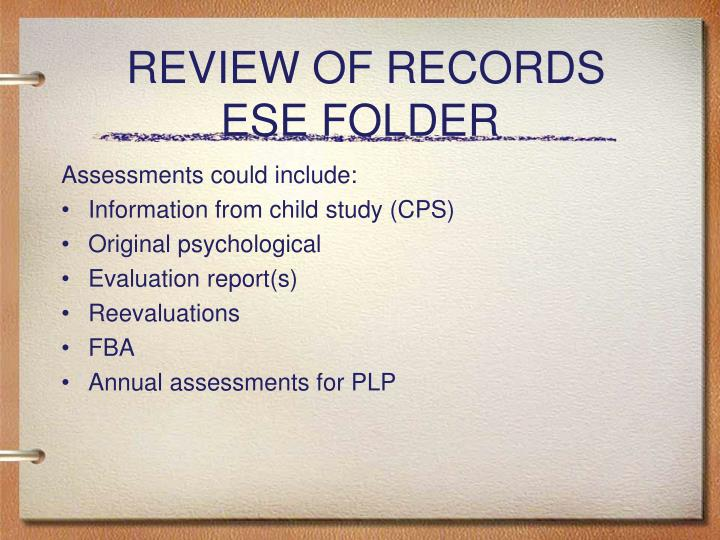 REVIEW OF RECORDS