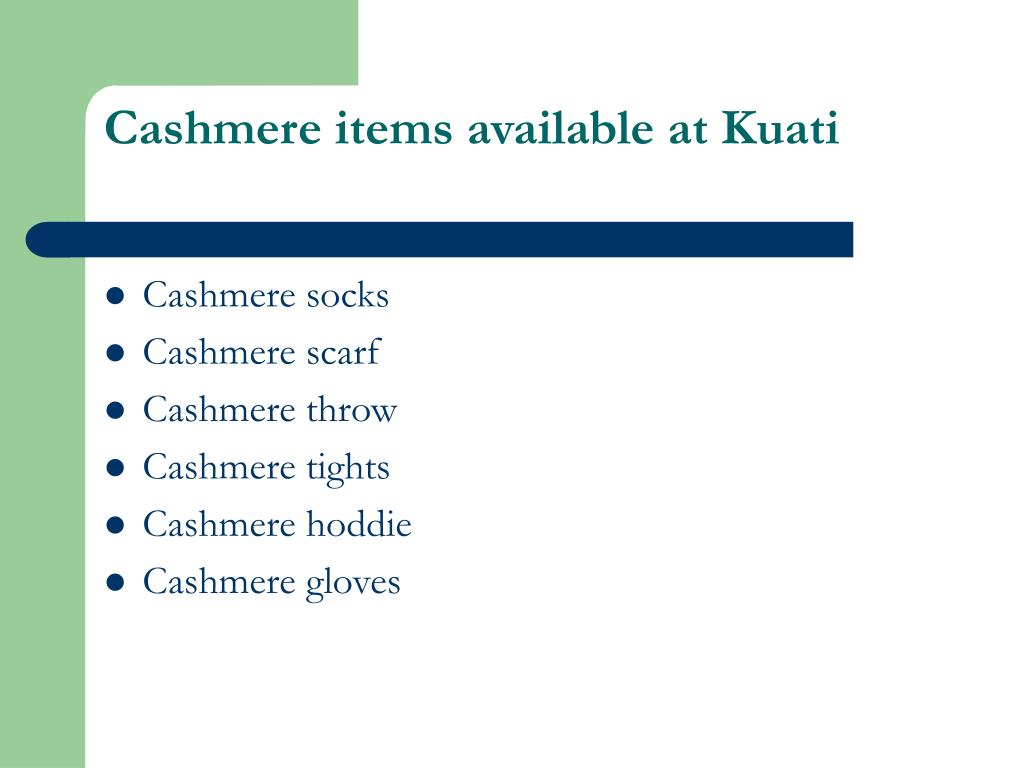 Cashmere items available at Kuati