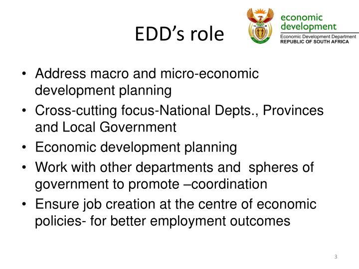 EDD's role
