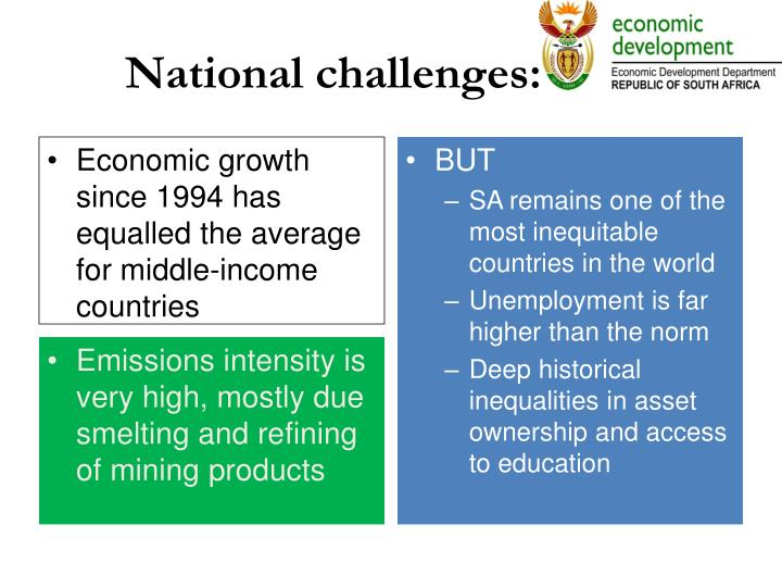 National challenges:
