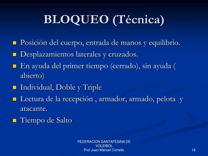 BLOQUEO (Técnica)