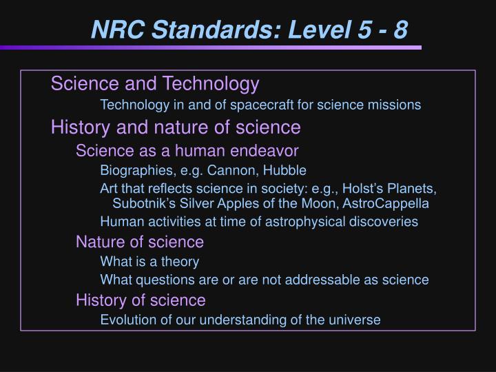 NRC Standards: Level 5 - 8