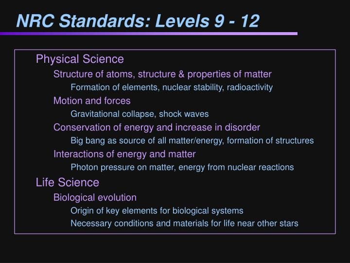 NRC Standards: Levels 9 - 12