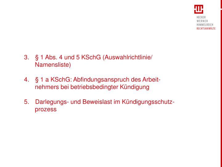§ 1 Abs. 4 und 5 KSchG (Auswahlrichtlinie/