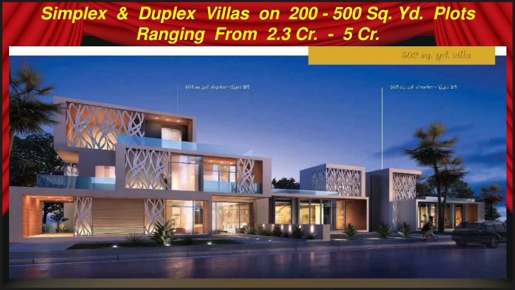 Simplex  &  Duplex  Villas  on  200 - 500 Sq. Yd.  Plots