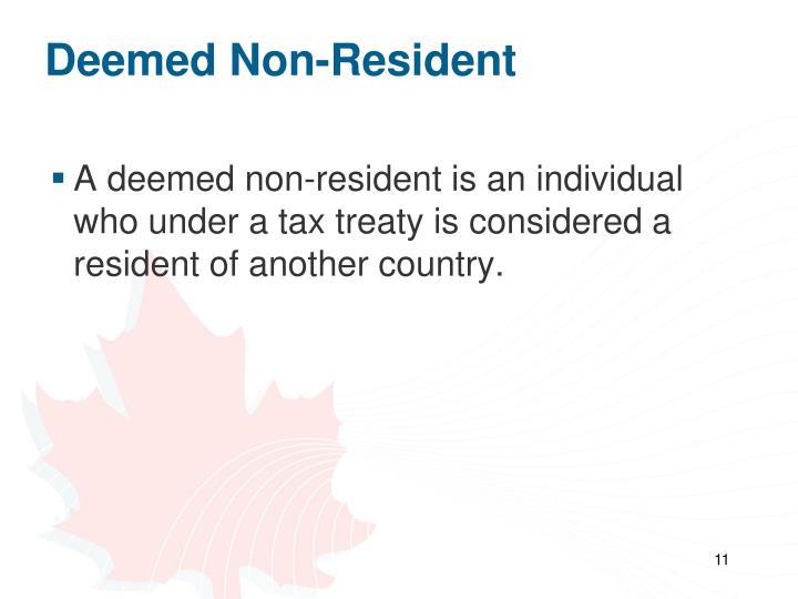 Deemed Non-Resident
