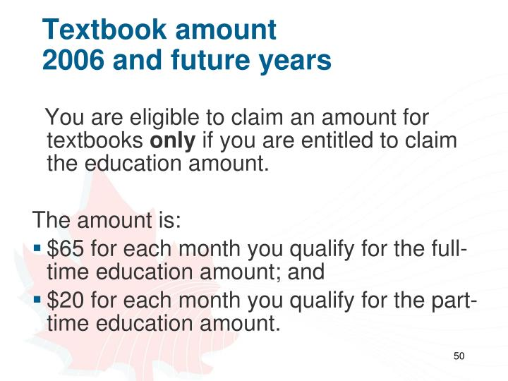 Textbook amount