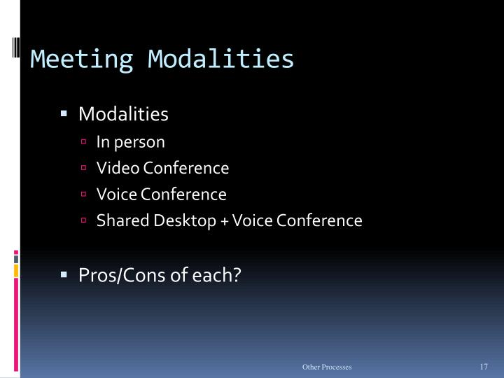 Meeting Modalities