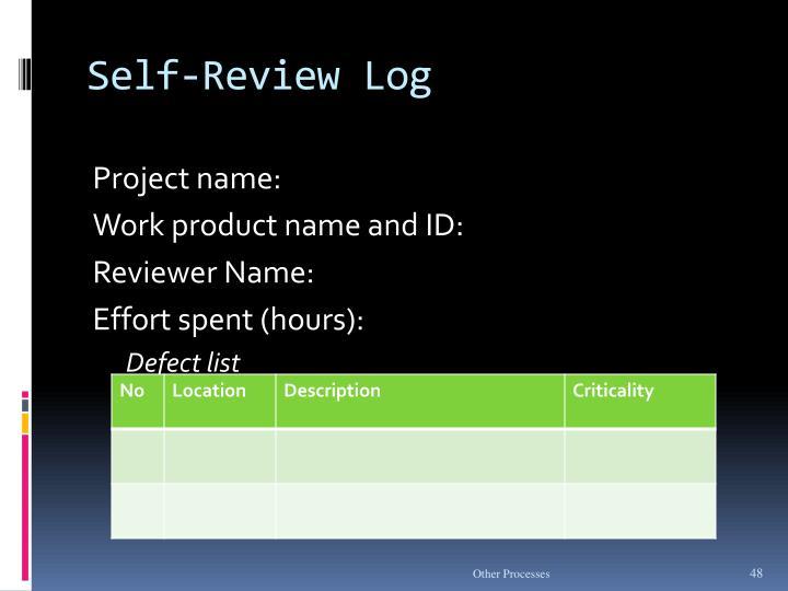 Self-Review Log