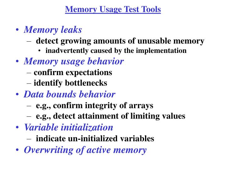 Memory Usage Test Tools